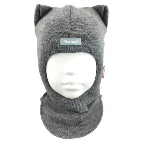 "Зимний шлем Бизи ""Кошка"" Серый меланж"