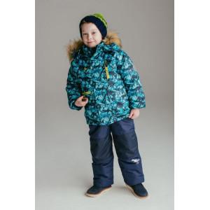 """Зимний костюм UKI kids """"ДИНОЗАВРЫ"""" сине-бирюзовый принт"""