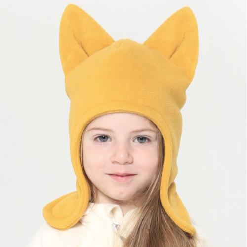 Флисовая шапка с ушками ЛИСЁНОК горчица