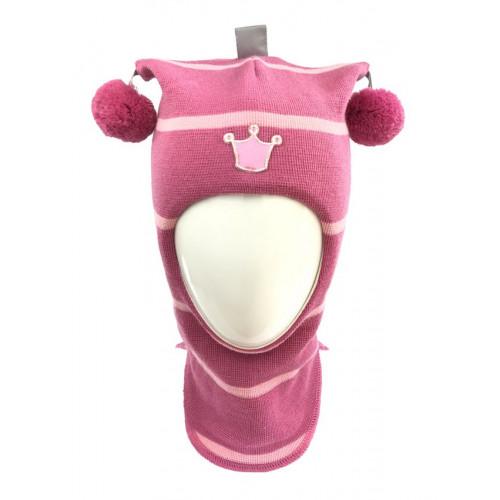 "Зимний шлем Бизи ""Принцесса"" Розовый (полоска)"