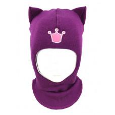 """Зимний шлем Бизи """"Кошка"""" Тёмная орхидея"""