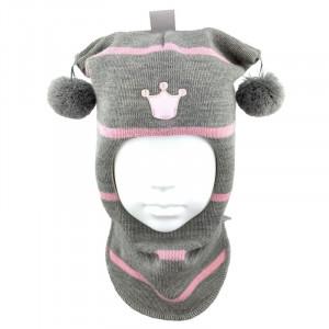 "Зимний шлем Бизи ""Принцесса"" светло-серый меланж/розовый (полоска)"