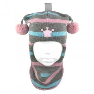 """Зимний шлем Бизи """"Принцесса"""" светло-серый меланж/розовый/небесно-голубой (полоска)"""