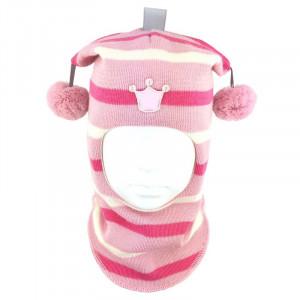"""Зимний шлем Бизи """"Принцесса"""" розовый/белый/ярко-розовый (полоска)"""