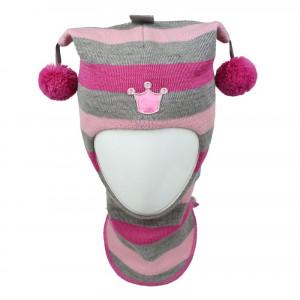 "Зимний шлем Бизи ""Принцесса"" светло-серый меланж/розовый/флокс (полоска)"