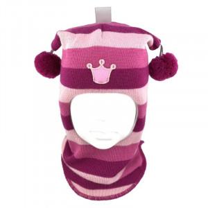 "Зимний шлем Бизи ""Принцесса"" Фуксия/флокс/розовый (полоска)"