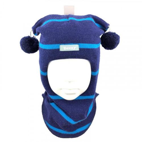 """Зимний шлем Бизи """"Принц"""" Тёмно-синий/бирюзово-голубой (полоска)"""