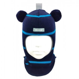 "Зимний шлем Бизи ""Мишка"" Тёмно-синий/бирюзово-голубой (полоска)"