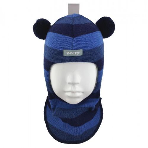 "Зимний шлем Бизи ""Мишка"" Джинсовый меланж/тёмно-синий/королевский синий (полоска)"