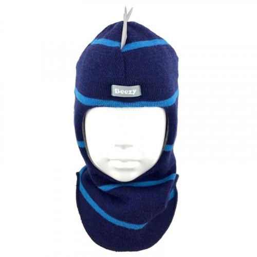 """Зимний шлем Бизи """"Дино"""" Тёмно-синий/бирюзово-голубой (полоска)"""