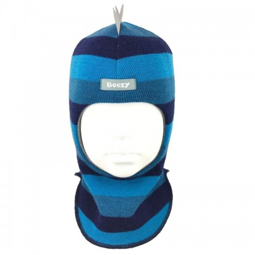 "Зимний шлем Бизи ""Дино"" Морская волна/бирюзово-голубой/тёмно-синий (полоска)"