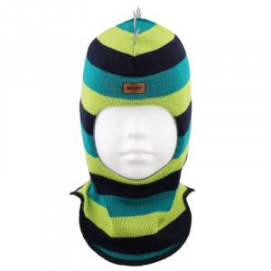 "Зимний шлем Бизи ""ДИНО"" Тёмно-синий/весенний/зелёный (полоска)"