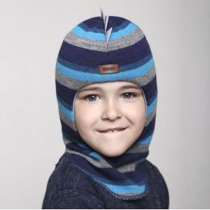 "Зимний шлем Бизи ""ДИНО"" Светлый маренго/бирюзово-голубой/тёмно-синий (полоска)"