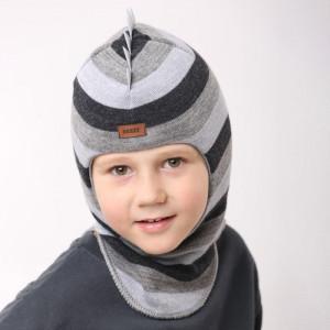 """Зимний шлем Бизи """"ДИНО"""" Тёмно-серый меланж/серый меланж/светло-серый меланж (полоска)"""