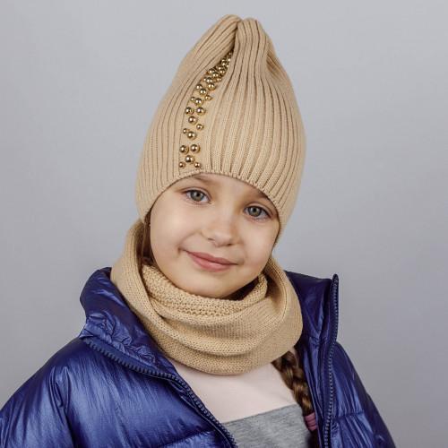 КОМПЛЕКТ шапка однослойная ТРЮФЕЛЬ с жемчугом + снуд  БЕЖЕВЫЙ/ЗОЛОТО