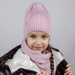 КОМПЛЕКТ шапка однослойная ТРЮФЕЛЬ с жемчугом + снуд  ПУДРА/РАЗНОЦВЕТ