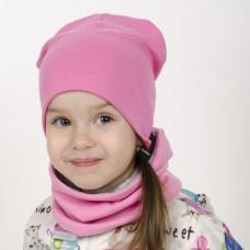 Шапка БИНИ + снуд (комплект) розовый