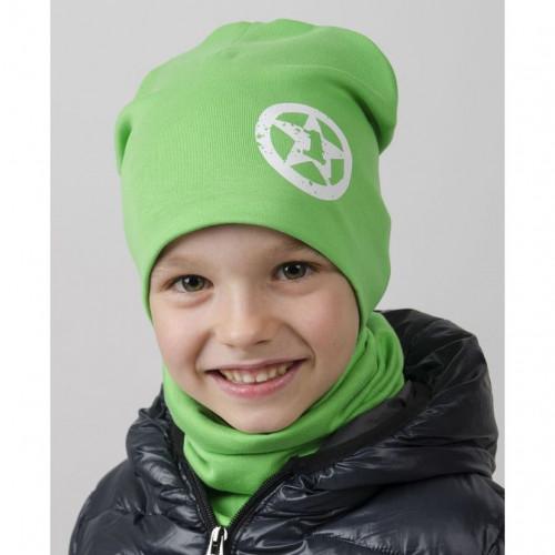 Комплект шапка двухслойная с СЕРДЕЧКОМ + снуд зелёный