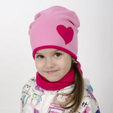 Шапка двухслойная с СЕРДЕЧКОМ + снуд (комплект) розовый/фуксия