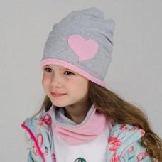 Шапка двухслойная с СЕРДЕЧКОМ + снуд (комплект) серый меланж/розовый