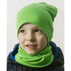 Шапка БИНИ + снуд (комплект) зелёный