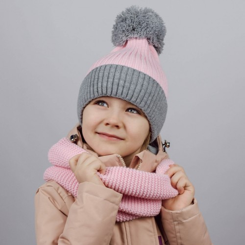 Шапка двухцветная с вязаным помпоном СЕРЫЙ МЕЛАНЖ/РОЗОВЫЙ