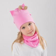 Шапка двухслойная КОШКА с золотым бантом + снуд (комплект) розовый
