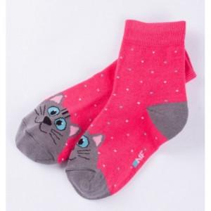 """Детские носки """"Кошки"""" малиновый"""