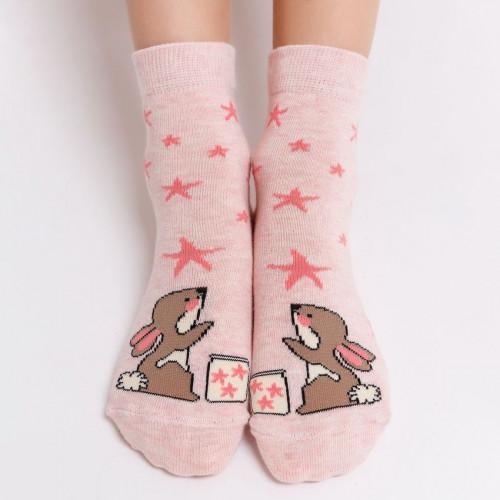 "Детские носки MF ""Зайки"" розовый меланж"