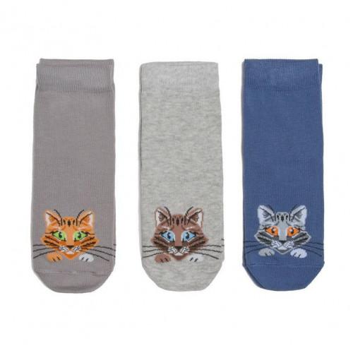 """Носки """"Кошки"""" (набор 3 пары) джинс"""