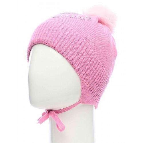 Шапка для девочки из шерсти Maxval розовая