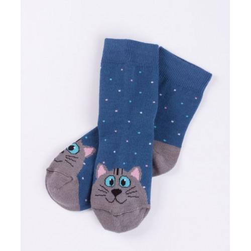 """Детские носки """"Кошки"""" джинсовый"""