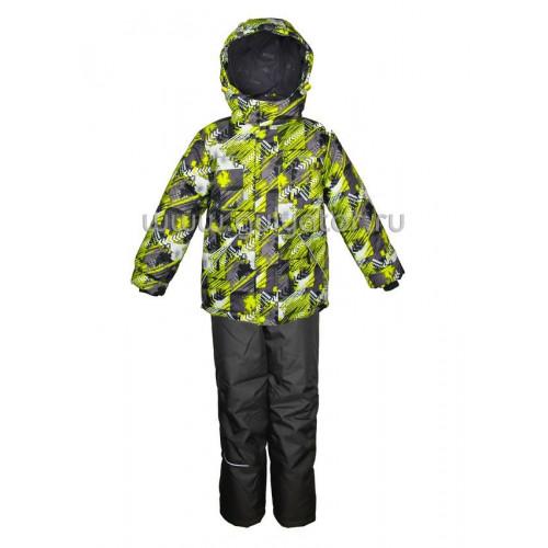 """Зимний костюм для мальчика UKI kids """"ТАЙФУН"""" салатовый"""