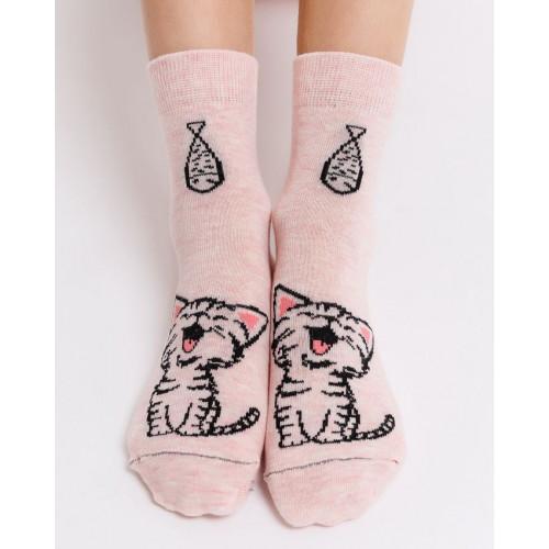 """Детские носки """"Мяу"""" розовый меланж"""