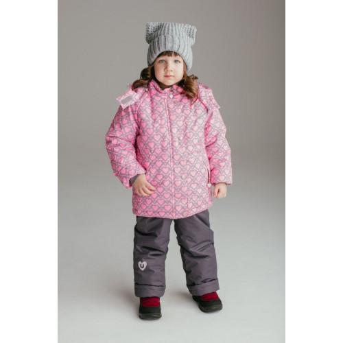 """Зимний костюм UKI kids """"СЕРДЕЧКИ"""" светло-розовый неон"""