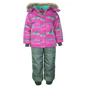 """Зимний костюм UKI kids """"Штрихи"""" розовый принт"""