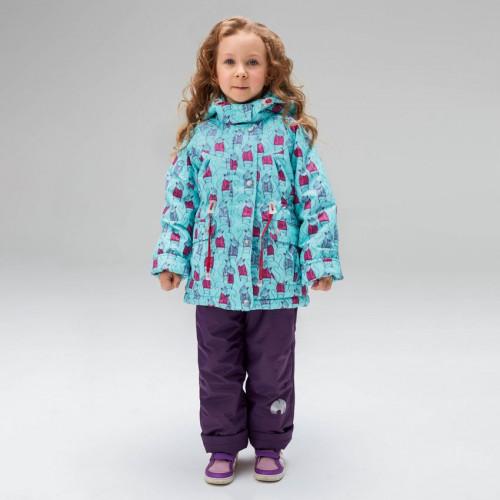 Демисезонный костюм UKI kids БЕЛЬЧОНОК бирюзовый/фиолетовый