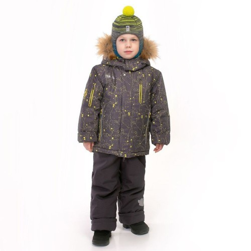 """Зимний костюм для мальчика UKI kids """"Волки"""" серый"""