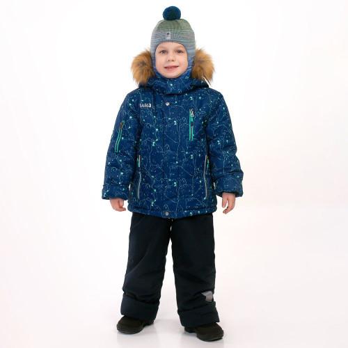 """Зимний костюм для мальчика UKI kids """"Волки"""" синий"""